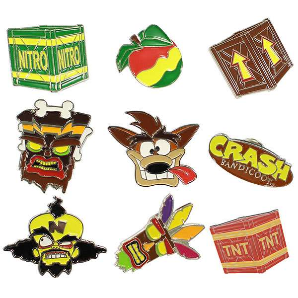 Crash Bandicoot Pin Badge Set