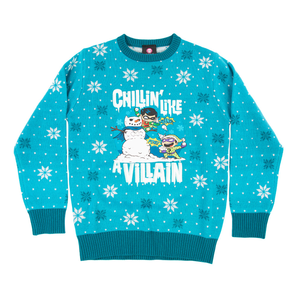 Dc Christmas Sweater.Dc Chillin Like A Villain Kids Christmas Jumper Ugly