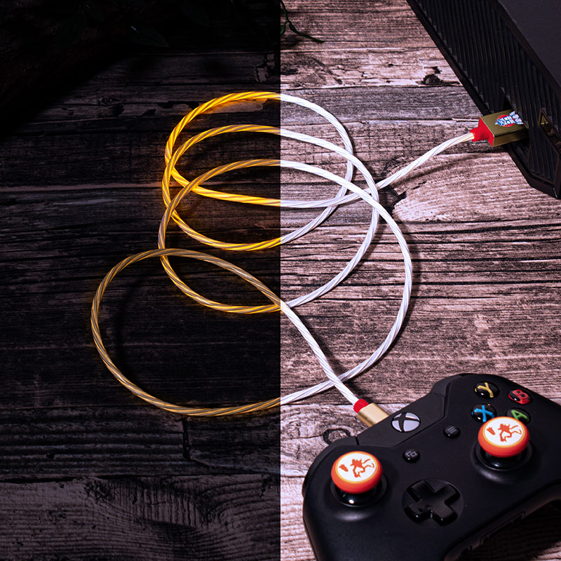 Official Crash Bandicoot LED Light Micro-USB Cable and Thumb Grips (PS4 and Xbox One)