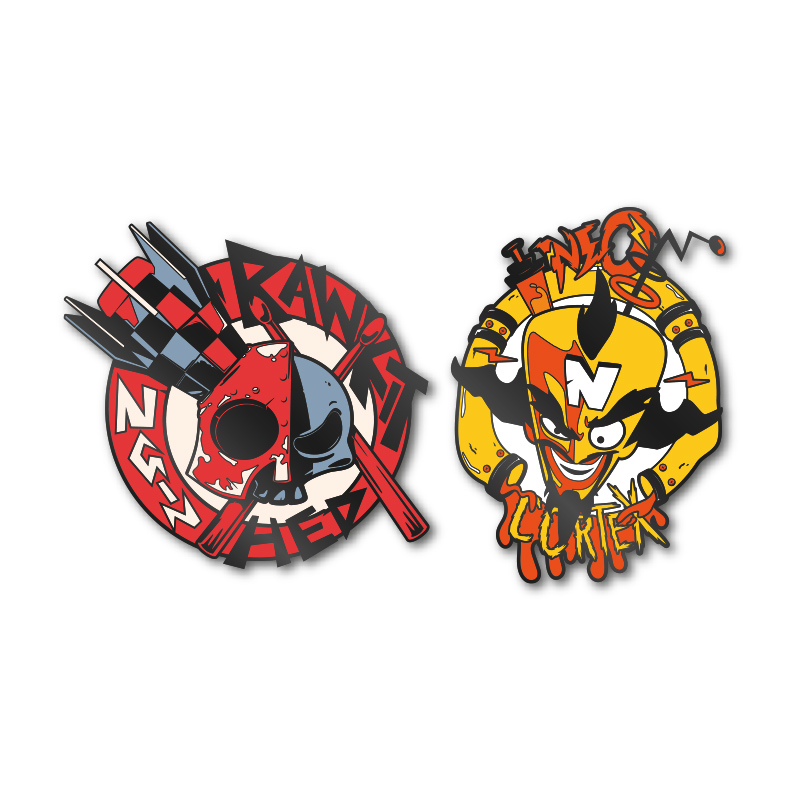 Pin Kings Crash Bandicoot Enamel Pin Badge Set 1.2 – Cortex and Dr. N. Gin