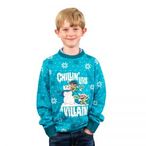 DC 'Chillin like a Villain' Kids Christmas Jumper / Ugly Sweater