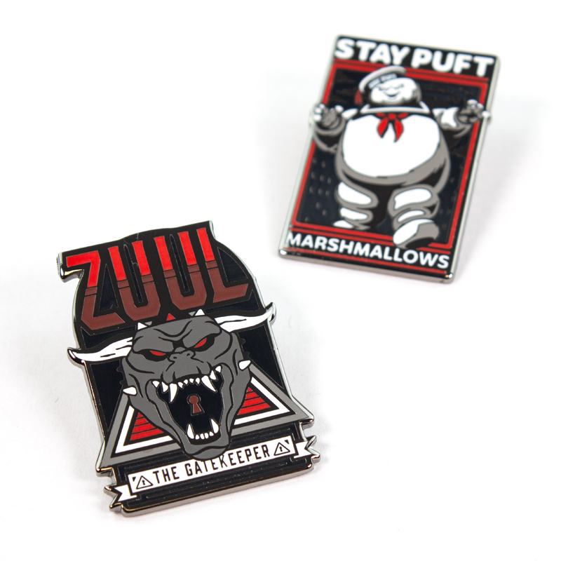 Pin Kings Ghostbusters Enamel Pin Badge Set 1.1 – Zuul & Marshmellow Man