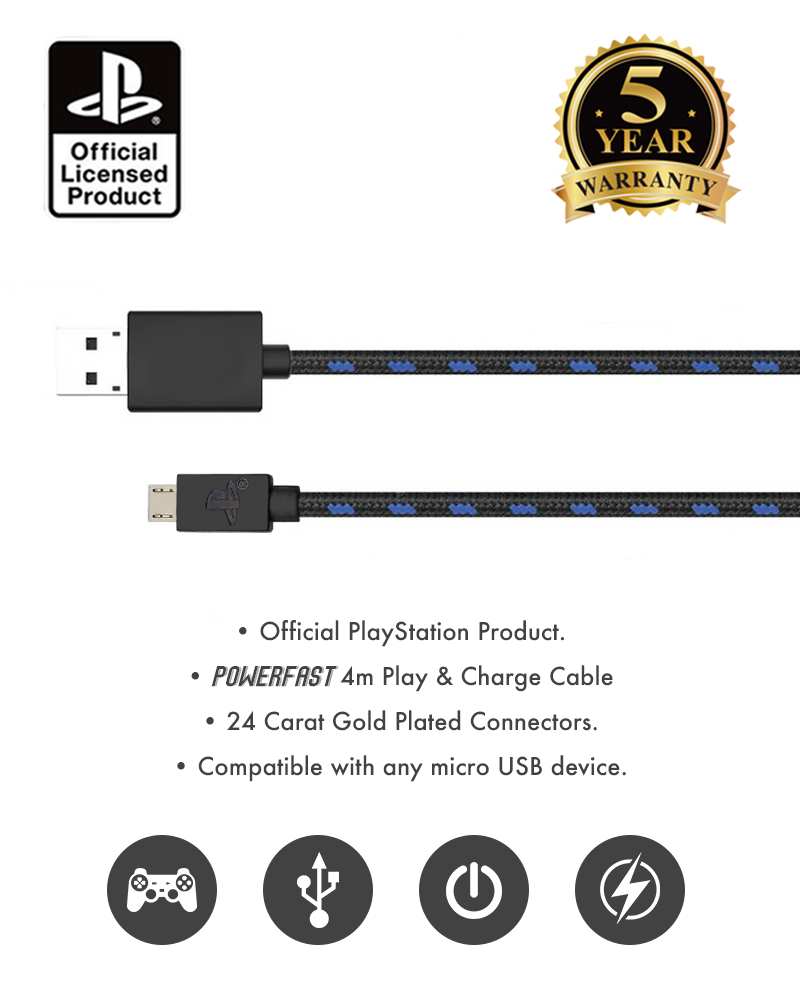 PlayStation 4 / PS4 4m Play & Charge Cable