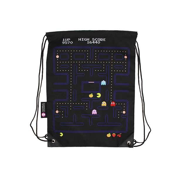 Pac-Man Gameplay Drawstring Bag