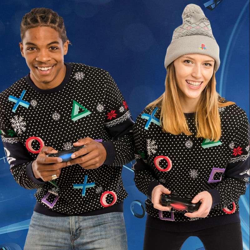 PlayStation Symbols Christmas Jumper / Ugly Sweater (Black)