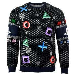 PlayStation Symbols Christmas Jumper / Ugly Sweater (Black)