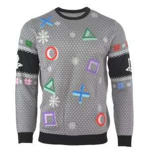 PlayStation Symbols Christmas Jumper / Ugly Sweater (Grey)