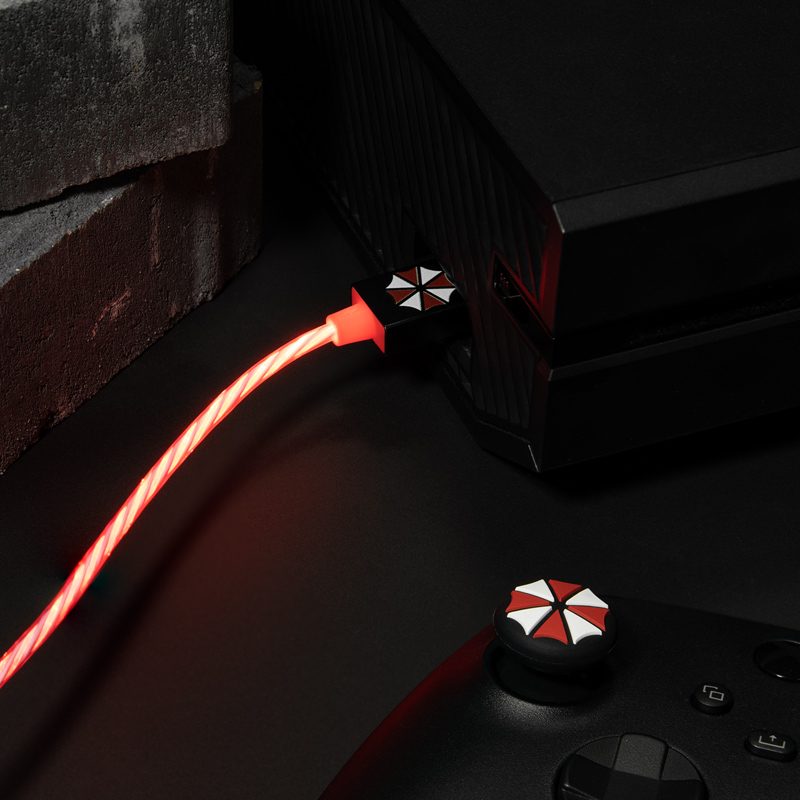 Official Resident Evil USB C LED Charge Cable & Thumb Grips (Xbox Series X & Series S, PS5 and Nintendo Switch)