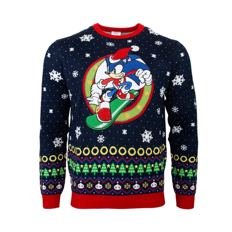 Hedgehog Christmas Jumper.Sonic The Hedgehog Snowboarding Christmas Jumper Ugly