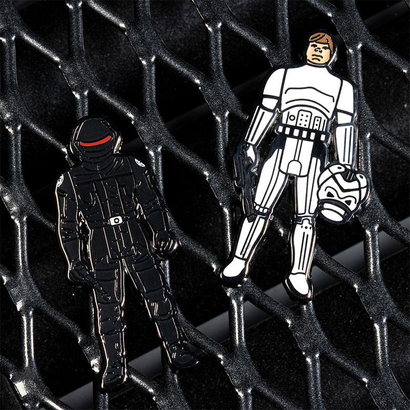 Pin Kings Star Wars Enamel Pin Badge Set 1.44 – Imperial Gunner and Luke Skywalker (Imperial Stormtrooper Outfit)