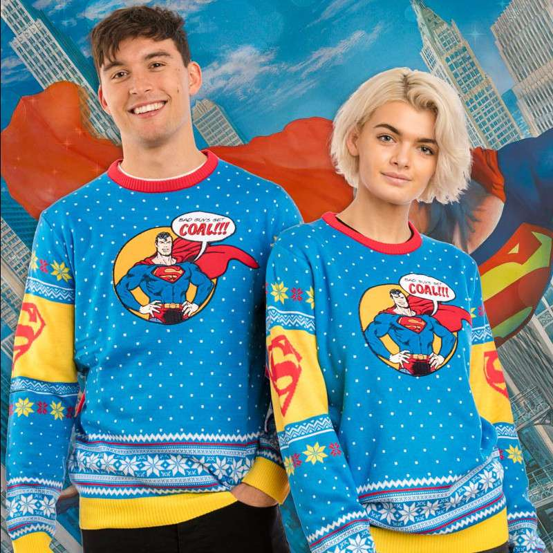 Superman 'Bad Guys Get Coal' Christmas Jumper / Ugly Sweater