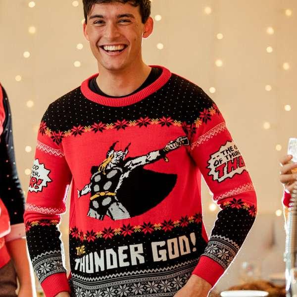 Thor Mjolnir Hammer Christmas Jumper Novelty Xmas Sweater Unisex Adults /& Kids