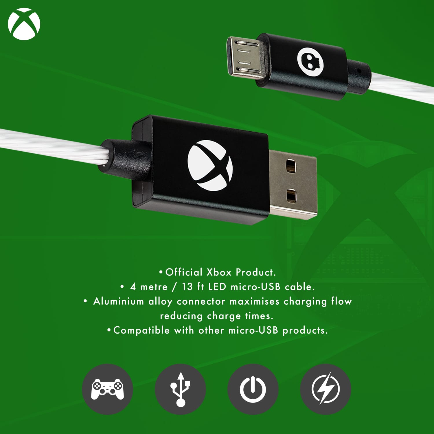 Official Xbox One LED Micro USB Charge Cable