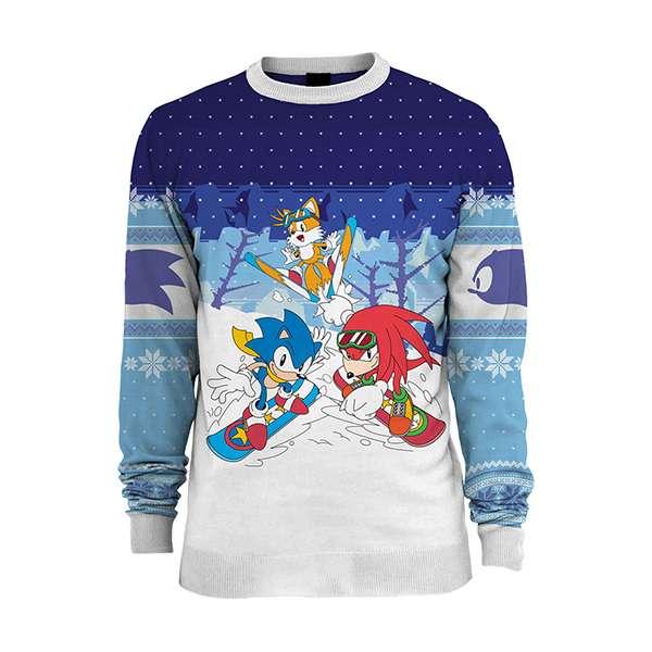 Hedgehog Christmas Sweater.Sonic The Hedgehog Skiing Christmas Jumper Ugly Sweater